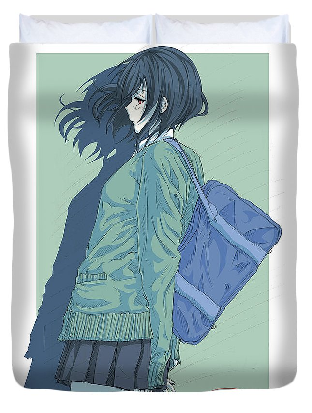 Japan Duvet Cover featuring the drawing Child's Play by Tuan HollaBack