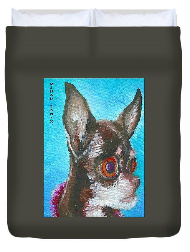 Dog Duvet Cover featuring the painting Chili Chihuahua by Minaz Jantz