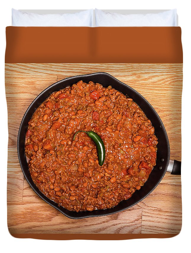 Beans Duvet Cover featuring the photograph Chili In Black Pan On Wood Table With Jalapeno Pepper by Darryl Brooks
