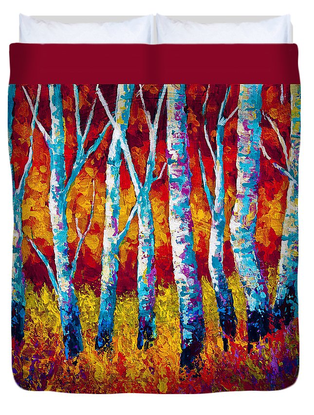 Trees Duvet Cover featuring the painting Chill In The Air by Marion Rose