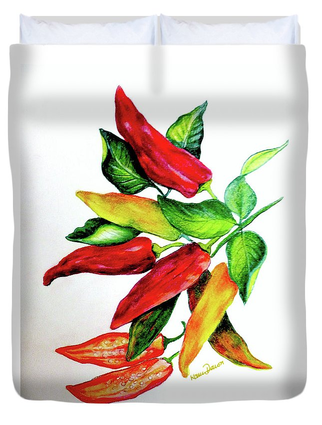 Chilliy Peppers Duvet Cover featuring the pastel Chillies From My Garden by Karin Dawn Kelshall- Best