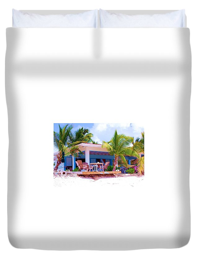 Palm Trees Duvet Cover featuring the photograph Chillin by Debbi Granruth