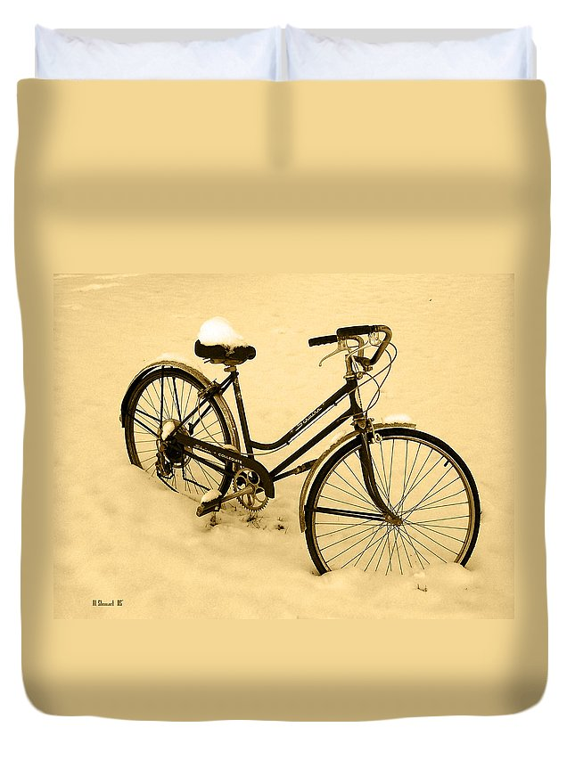 Sepia Art Duvet Cover featuring the photograph Chilly Ride by Albert Stewart