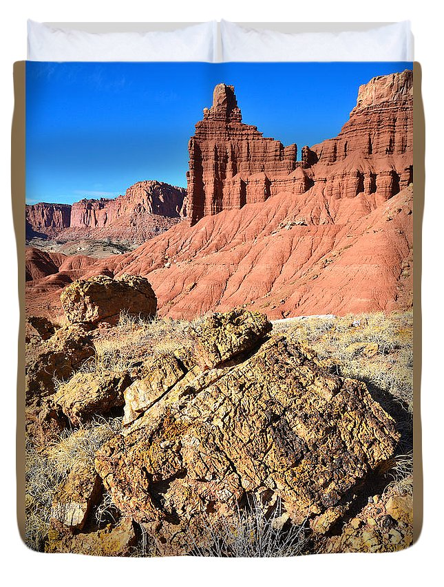 Capitol Reef National Park Duvet Cover featuring the photograph Chimney Rock IIi by Ray Mathis