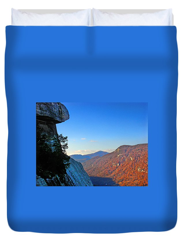 Landscape Duvet Cover featuring the photograph Chimney Rock 2 by Steve Karol