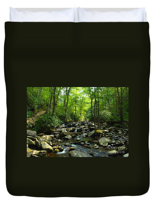 Trail Duvet Cover featuring the photograph Chimney Tops Trail by David Lee Thompson