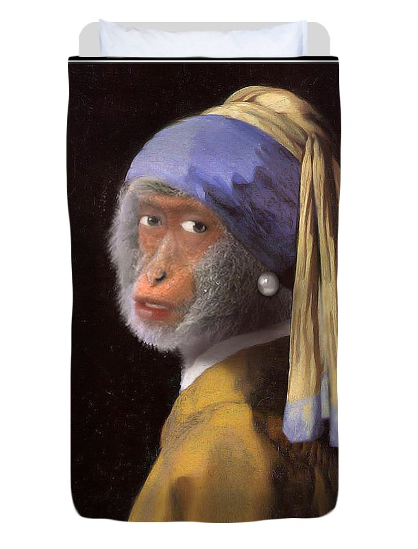 Vermeer Duvet Cover featuring the painting Chimp With A Pearl Earring by Gravityx9 Designs