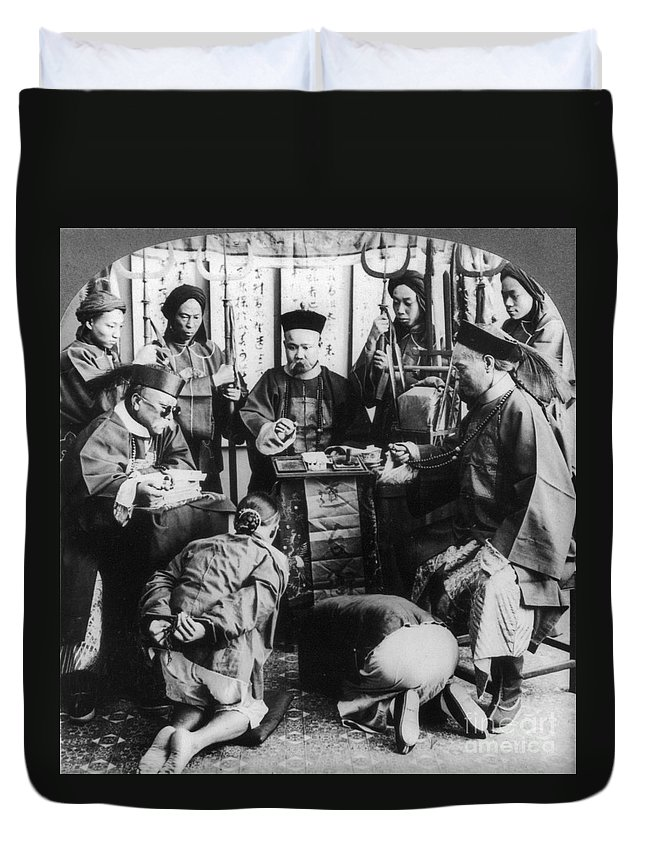 1900 Duvet Cover featuring the photograph China: Boxer Trial, C1900 by Granger