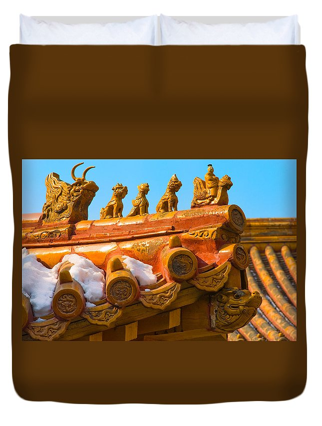 China Duvet Cover featuring the photograph China Forbidden City Roof Decoration by Sebastian Musial