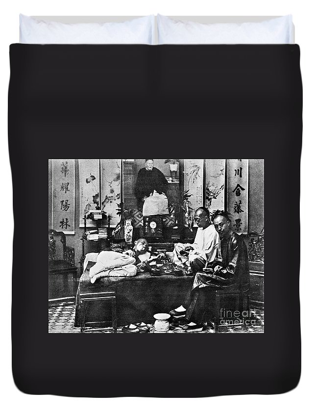1880 Duvet Cover featuring the photograph China: Opium Smokers by Granger