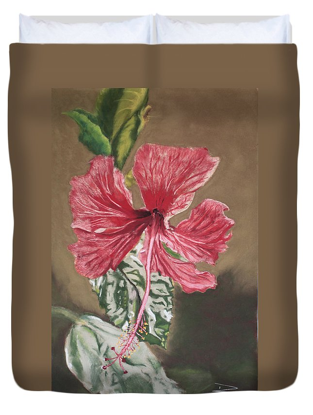 Flower Duvet Cover featuring the painting China Rose by D Turner