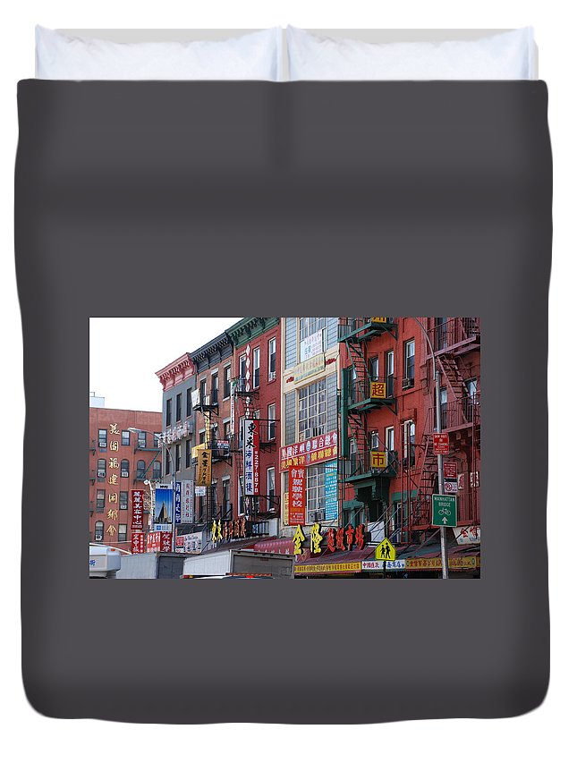 Architecture Duvet Cover featuring the photograph China Town Buildings by Rob Hans