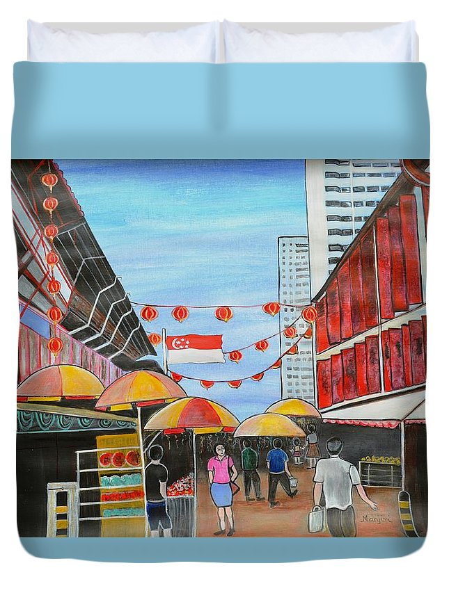 Chinatown Duvet Cover featuring the painting China Town Singaporesg50 by Manjiri Kanvinde