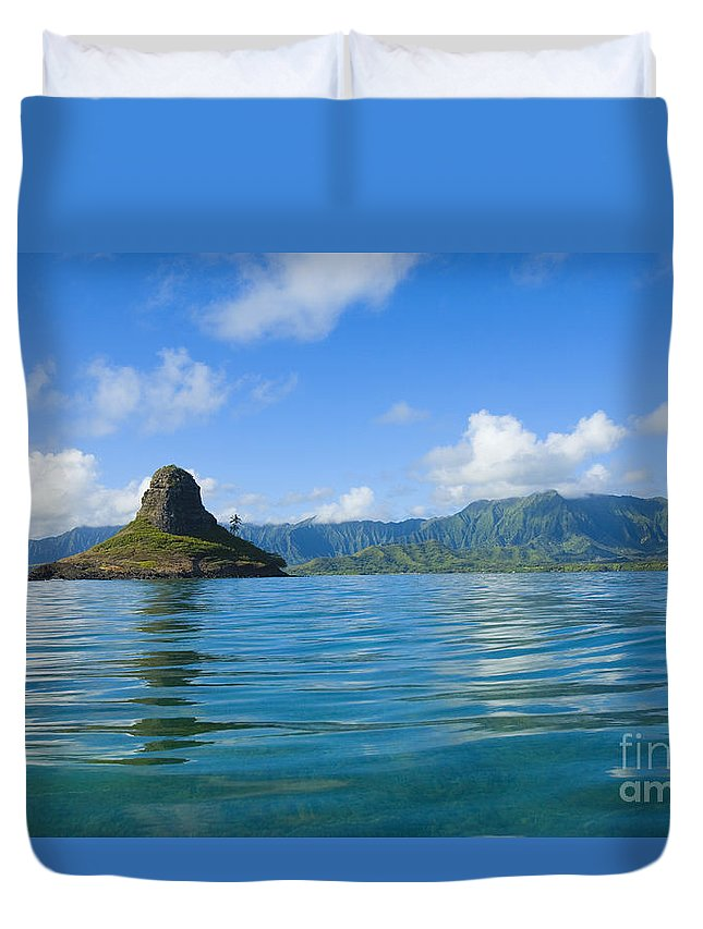 Alongside Duvet Cover featuring the photograph Chinamans Hat From Ocean by Dana Edmunds - Printscapes