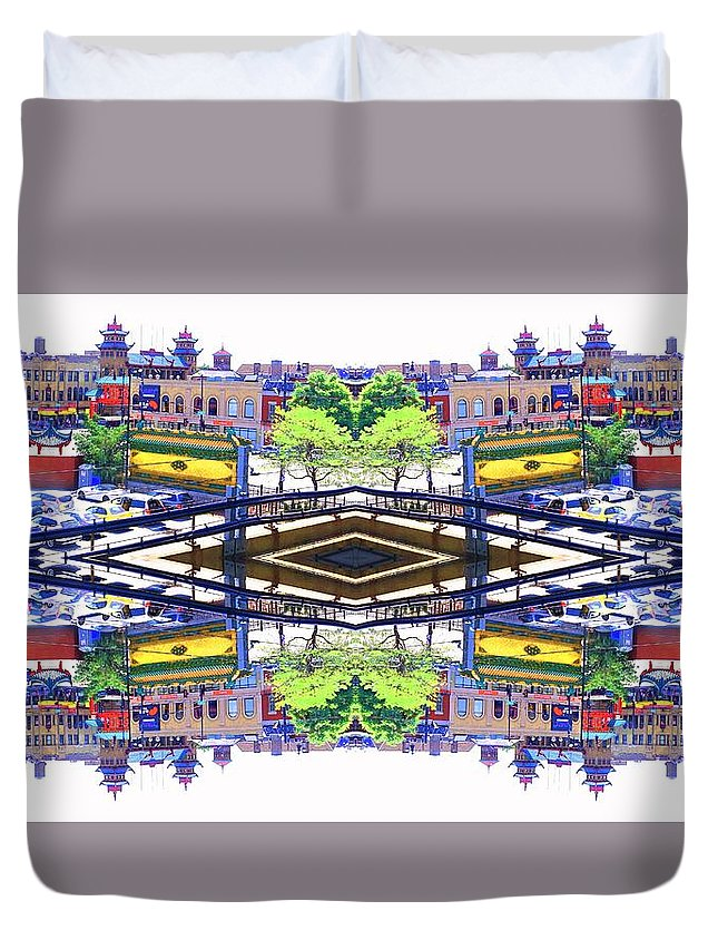 Chinatown Duvet Cover featuring the photograph Chinatown Chicago 3 by Marianne Dow