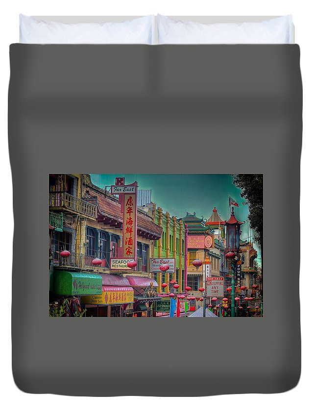Architecture Duvet Cover featuring the photograph Chinatown by Laura Macky