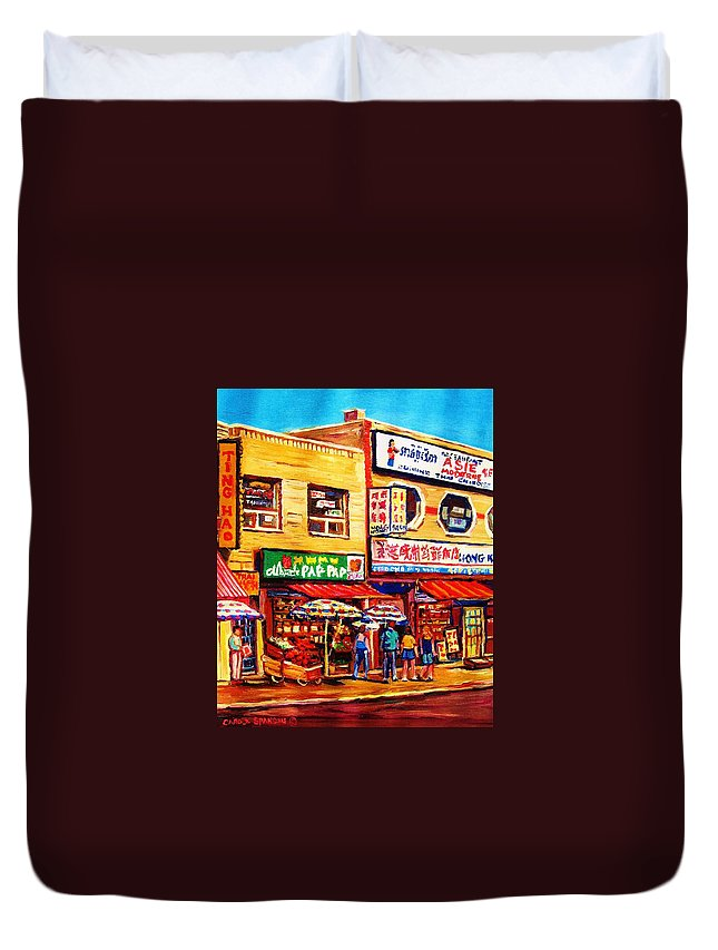 Montreal Duvet Cover featuring the painting Chinatown Markets by Carole Spandau