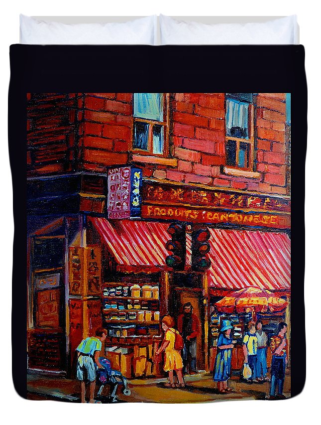 Chinatown Duvet Cover featuring the painting Chinatown Montreal by Carole Spandau