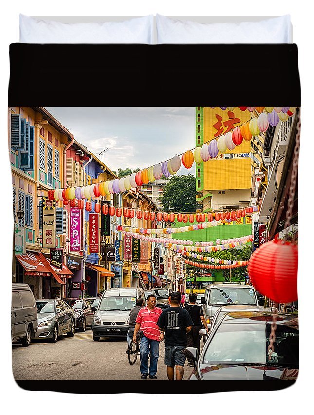 Architecture Duvet Cover featuring the photograph Chinatown Singapore by Michael Scott