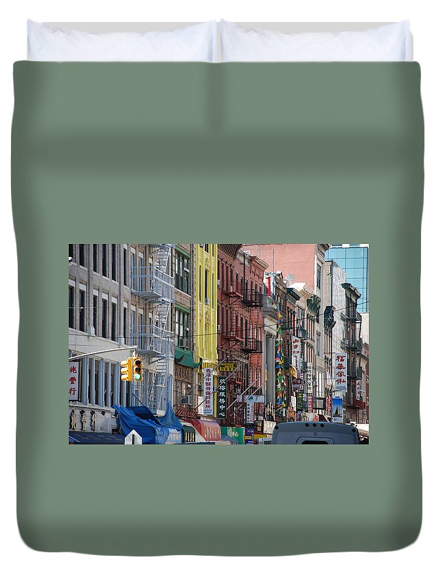 Architecture Duvet Cover featuring the photograph Chinatown Walk Ups by Rob Hans