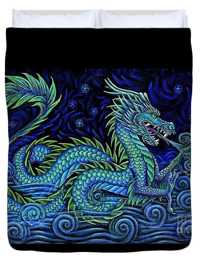 Chinese Dragon Duvet Cover featuring the drawing Chinese Azure Dragon by Rebecca Wang