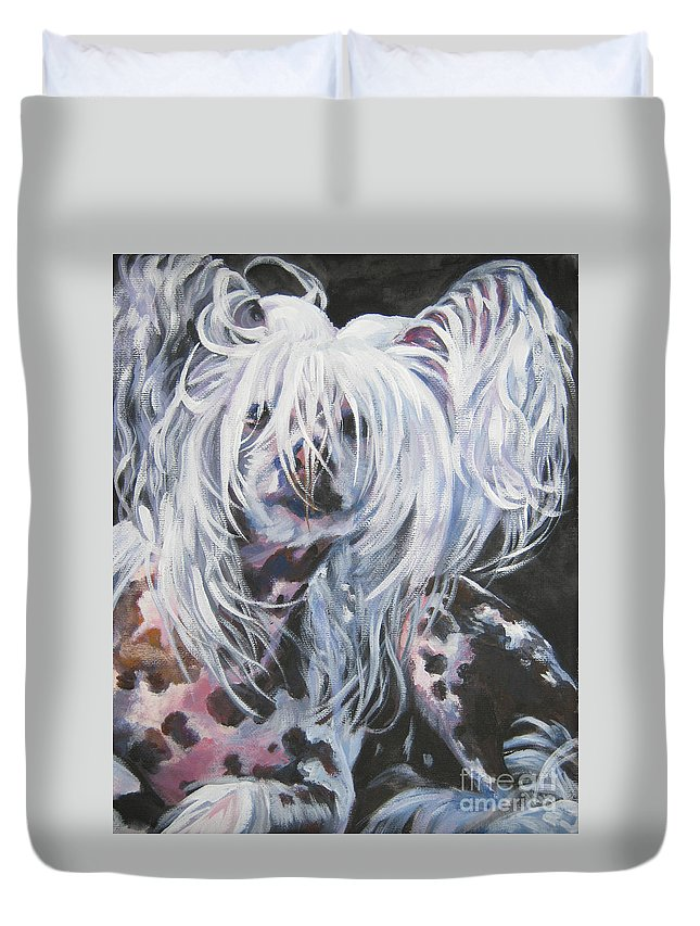 Dog Duvet Cover featuring the painting Chinese Crested by Lee Ann Shepard