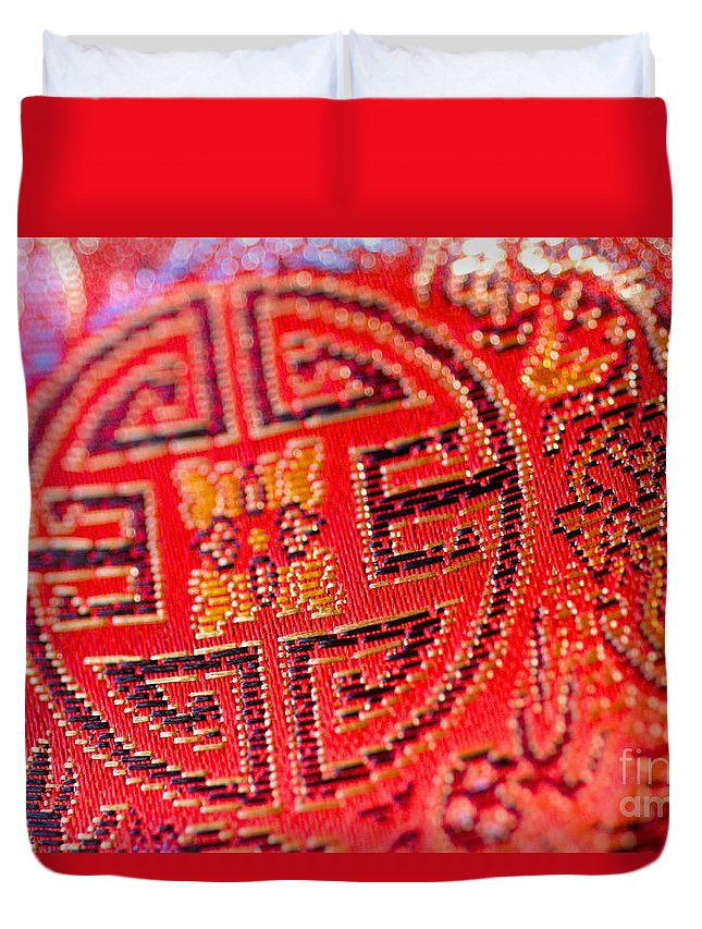 Asian Cultural Art Duvet Cover featuring the photograph Chinese Embroidery by Ray Laskowitz - Printscapes