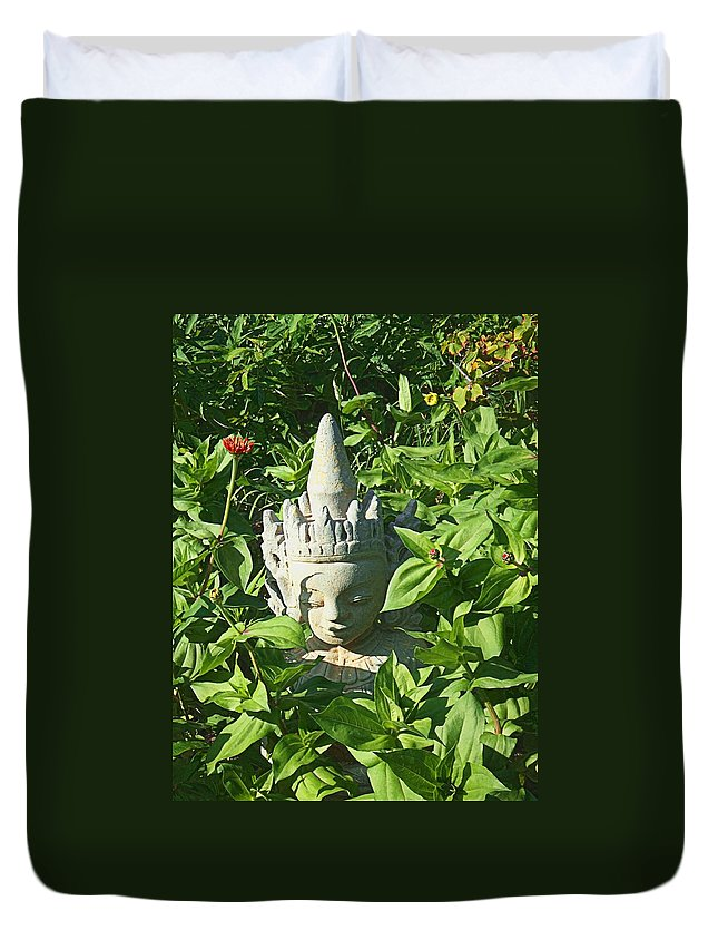 Asian Duvet Cover featuring the photograph Chinese Garden Gnome by Mark Sellers