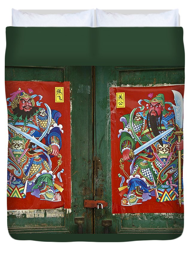 Asia Duvet Cover featuring the photograph Chinese Guardians by Michele Burgess