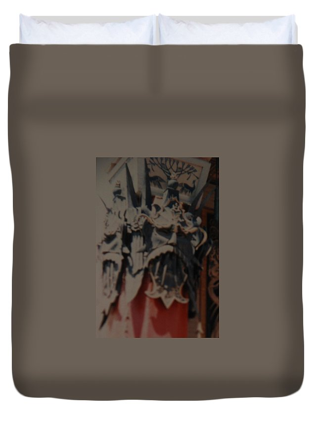 Grumanns Chinese Theater Duvet Cover featuring the photograph Chinese Masks by Rob Hans