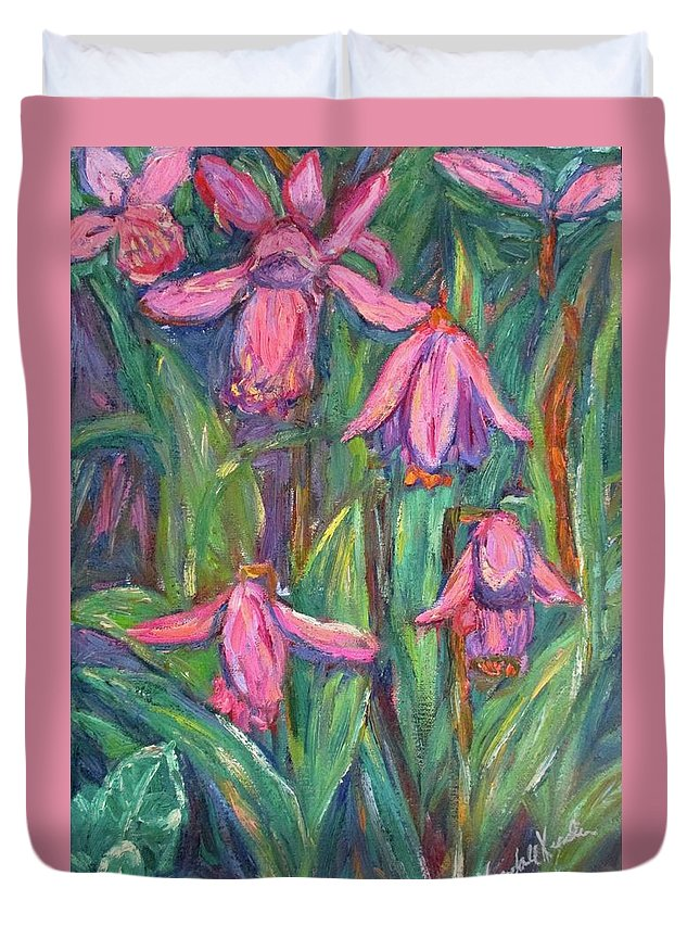 Floral Duvet Cover featuring the painting Chinese Orchids by Kendall Kessler
