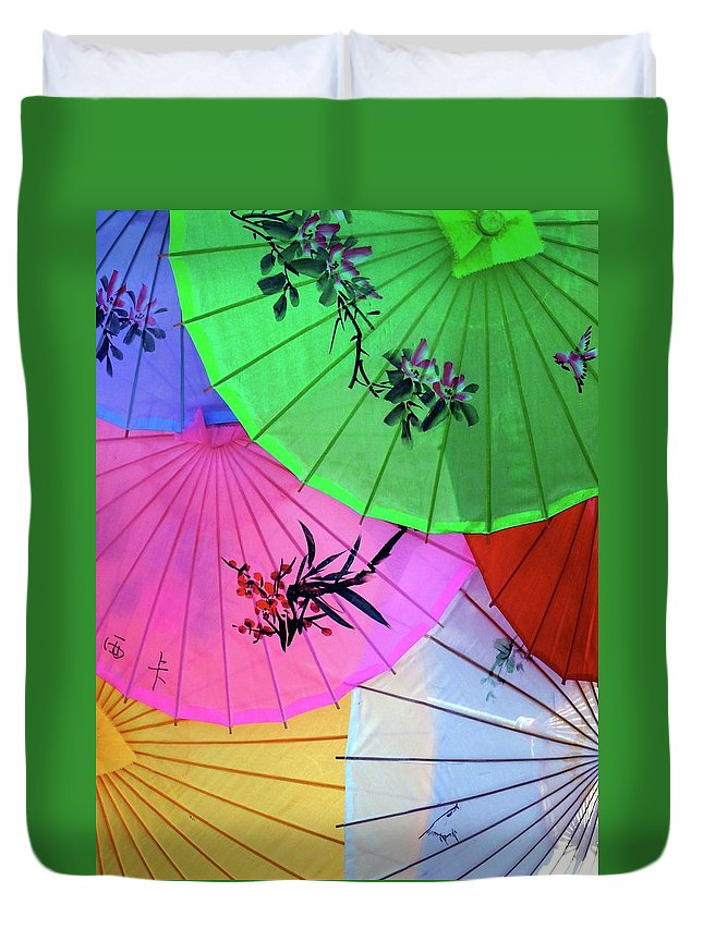 Parasols Duvet Cover featuring the photograph Chinese Parasols by Nora Martinez