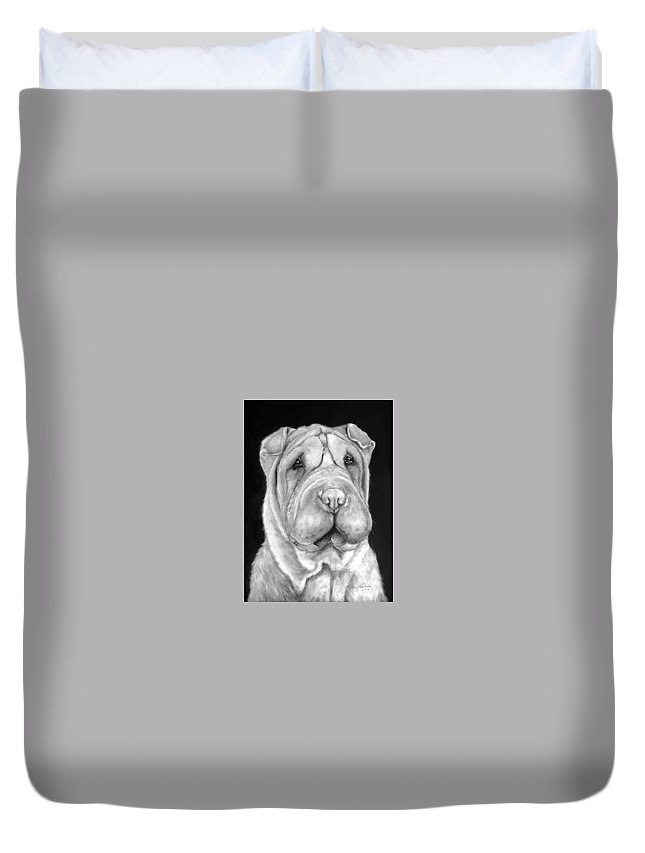 Sharpei Duvet Cover featuring the painting Chinese Sharpei by Portraits By NC