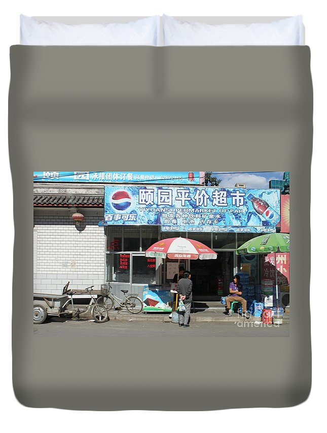 China Duvet Cover featuring the photograph Chinese Storefront by Thomas Marchessault
