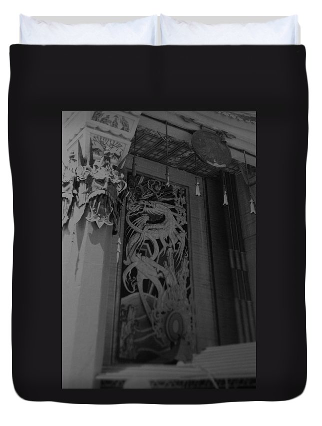 Black And White Duvet Cover featuring the photograph Chinese Theater by Rob Hans