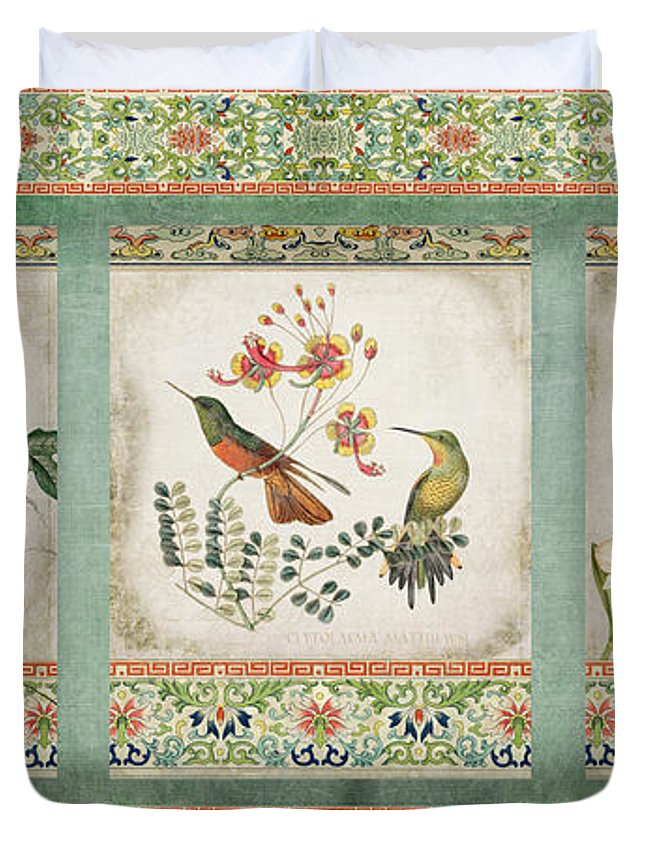 Chinese Ornamental Paper Duvet Cover featuring the digital art Triptych - Chinoiserie Vintage Hummingbirds N Flowers by Audrey Jeanne Roberts
