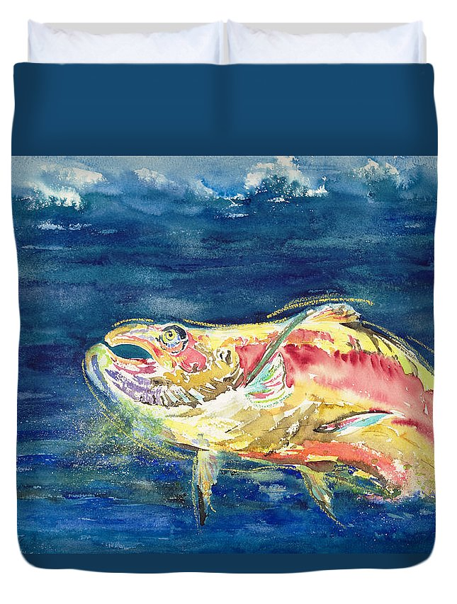 Animal Art Duvet Cover featuring the painting Chinook Salmon by Tanya L Haynes - Printscapes