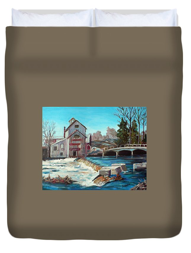 Mill Duvet Cover featuring the painting Chishom's Mill by Saga Sabin