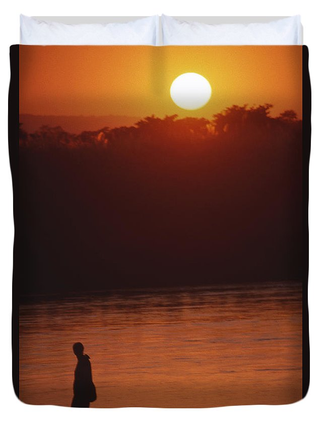Sunset Duvet Cover featuring the photograph Chitwan Sunset by Patrick Klauss