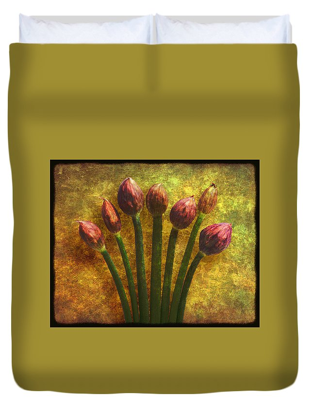 Texture Duvet Cover featuring the digital art Chives Buds by Digital Crafts
