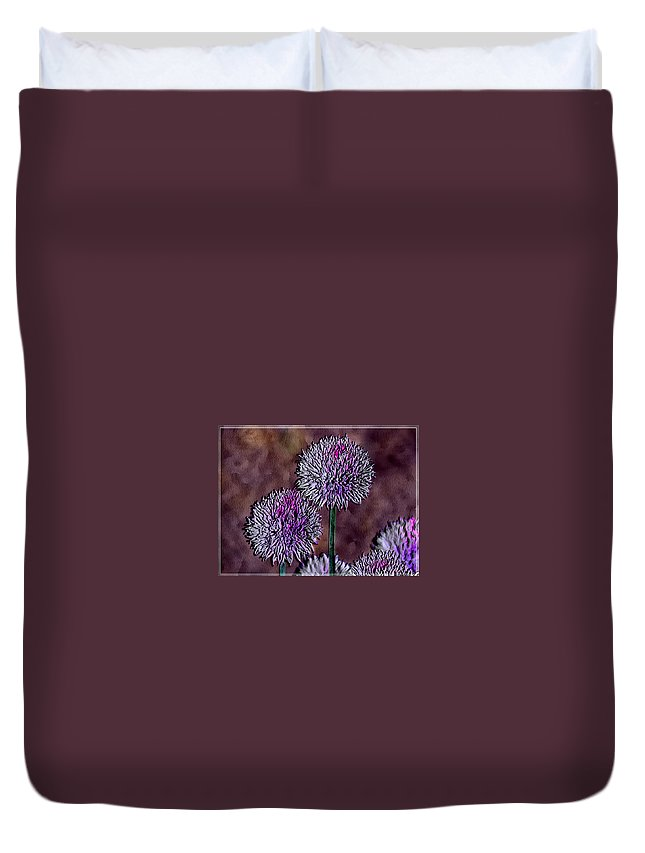 Ebsq Duvet Cover featuring the photograph Chives by Dee Flouton