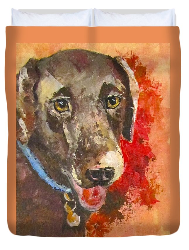 Dog Duvet Cover featuring the painting Chocolate by Barbara O'Toole