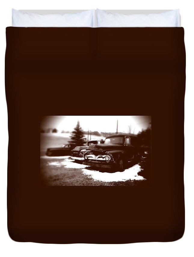 Old Cars Duvet Cover featuring the photograph Chocolate Ghosts by Jean Macaluso