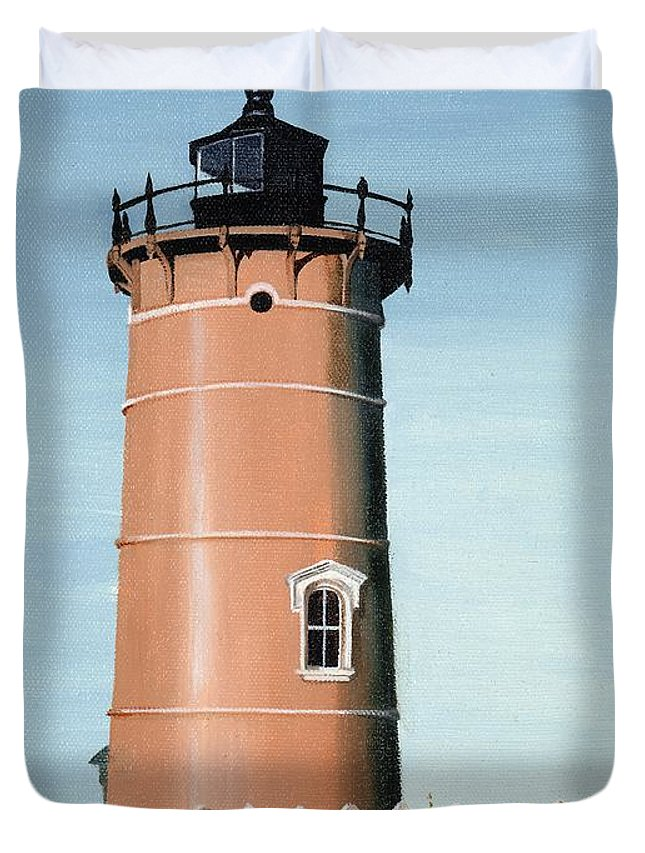 Lighthouse Duvet Cover featuring the painting Chocolate Lighthouse by Mary Rogers