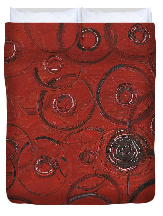 Red Duvet Cover featuring the painting Choices In Red by Nadine Rippelmeyer