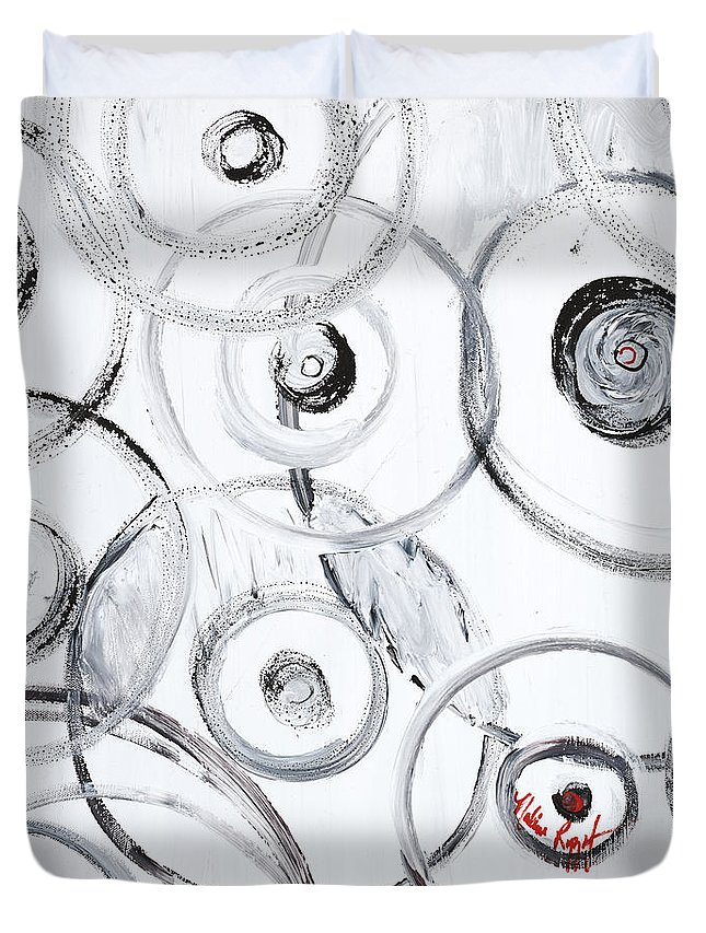 Circles Duvet Cover featuring the painting Choices In White by Nadine Rippelmeyer