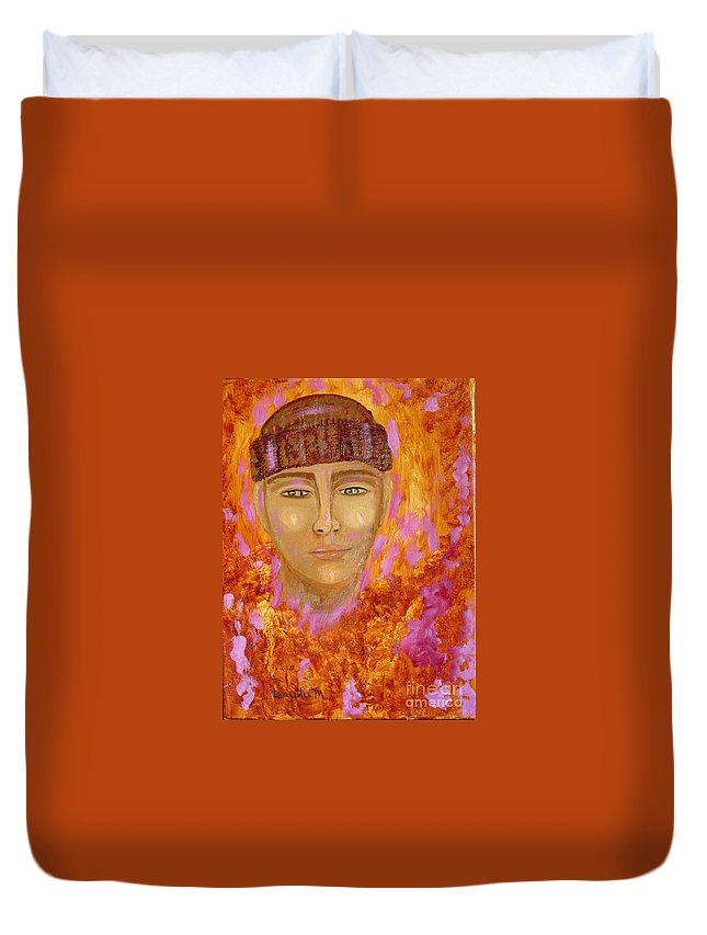 Portrait Duvet Cover featuring the painting Choices by Laurie Morgan