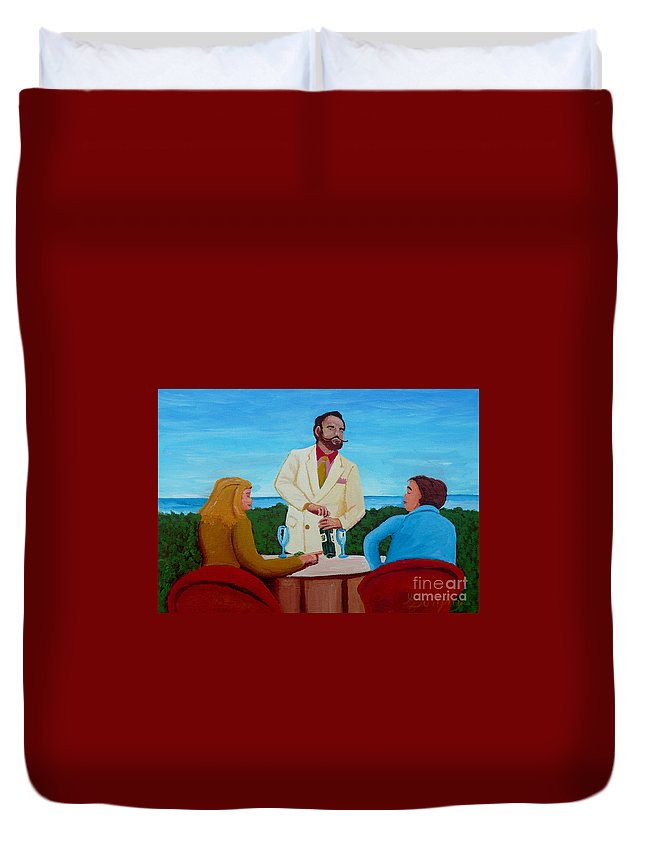 Wine Duvet Cover featuring the painting Choosing The Wine by Anthony Dunphy