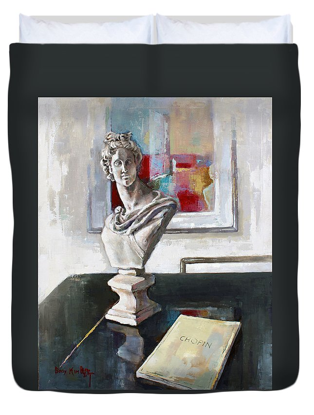 Oil Duvet Cover featuring the painting Chopin by Becky Kim