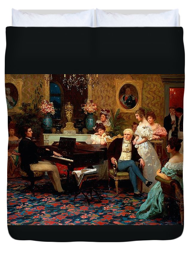 Piano Duvet Cover featuring the painting Chopin Playing The Piano In Prince Radziwills Salon by Hendrik Siemiradzki